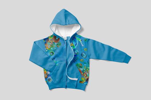 Pritty Underwater Seahorse Scene Seamless Pattern Design for Fabric